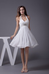 Knee-Length Sleeveless Halter A-Line Dress with Ruching and Beadings