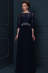 Bateau Neck Appliqued Half Sleeve Chiffon Mother Of The Bride Dress