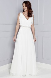 V-Neck Sleeveless Draped Maxi Chiffon Wedding Dress With Beading And V Back