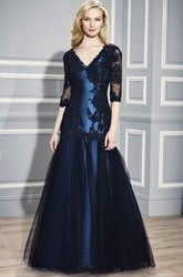 Mermaid Floor-Length Half Sleeve Appliqued V-Neck Satin Formal Dress