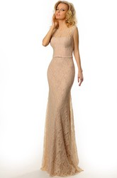 Pencil Appliqued Floor-Length Scoop Sleeveless Lace Prom Dress With Low-V Back And Sweep Train