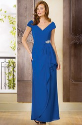 Cap-Sleeved V-Neck Long Mother Of The Bride Dress With Ruffles And Brooch