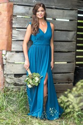 Chiffon V-neck Sleeveless Front Split Bridesmaid Dress