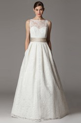 A-Line Floor-Length Appliqued Bateau-Neck Sleeveless Lace Wedding Dress With Bow