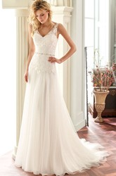 A-Line Sleeveless Floor-Length Appliqued V-Neck Lace Wedding Dress With Deep-V Back And Waist Jewellery