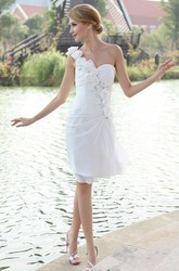 Asymmetrical Chiffon One-Shoulder Knee Length Wedding Dress With Floral Strap