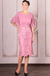 Pencil Knee-Length Poet Sleeve Bateau Neck Appliqued Chiffon Mother Of The Bride Dress