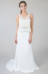 Sheath Sleeveless Floor-Length Scoop-Neck Lace Chiffon Wedding Dress