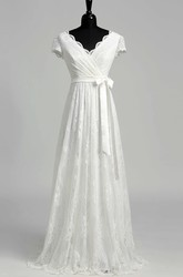 A Line Garden Floor-length Bow Sash Ribbon Lace Wedding Dress