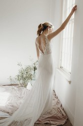 Sleeveless Elegant Sheath Plunging V-neck Lace Bridal Gown With Deep V-back And Buttons