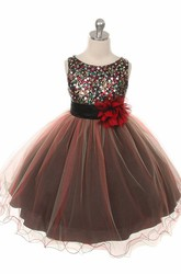 Tea-Length Pleated Tiered Sequins&Satin Flower Girl Dress