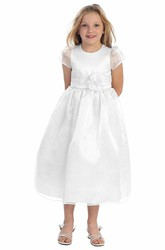 Ankle-Length Cap-Sleeve Tiered Organza&Satin Flower Girl Dress