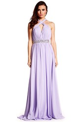 Ruched Halter Sleeveless Chiffon Prom Dress With Beading And Straps