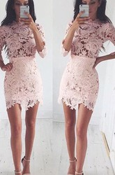Sheath Short Mini 3 4 Length Sleeve High Neck Lace Homecoming Dress