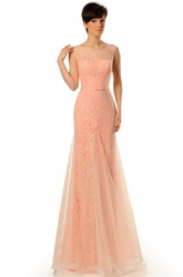 Sheath Long Scoop-Neck Sleeveless Tulle&Lace Prom Dress
