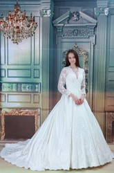 Plunged Long-Sleeve Lace Ball Gown Wedding Dress