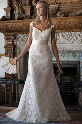 V-Neck Cap-Sleeve Lace Wedding Dress With Ribbon