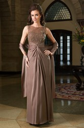 Sleeveless Bateau-Neck Gown With Matching Shawl And Beadings