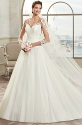 Sweetheart A-Line Bridal Gown With Illusive Design And Lace Appliques