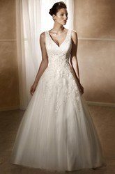 A-Line V-Neck Maxi Sleeveless Appliqued Satin&Tulle Wedding Dress With Court Train And Low-V Back