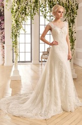 A-Line Long Bateau Cap-Sleeve Backless Lace Dress With Appliques And Pleats