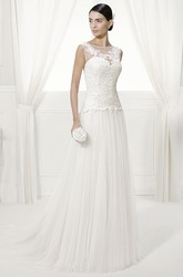 Jewel Neck Appliqued Bodice Bridal Gown With Pleated Tulle Skirt