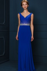 Sleeveless Beaded Floor-Length V-Neck Jersey Evening Dress With Pleats