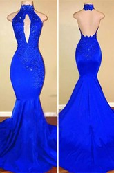 Open Back Appliques Sleeveless Satin Sexy Brush Train Mermaid Hater Dress