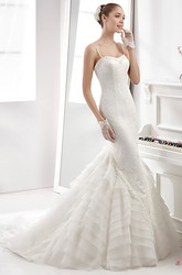 Spaghetti-Strap Sheath Mermaid Gown With Tiers Train And Backless Design
