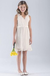 V-Neck Midi Pleated Empire Tulle&Lace Flower Girl Dress