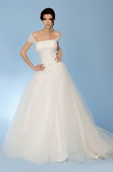 Ball-Gown Cap-Sleeve Strapless Floor-Length Appliqued Tulle Wedding Dress With Illusion Back And Court Train