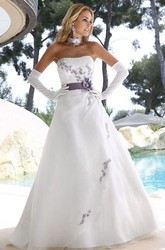 A-Line Sleeveless Strapless Long Floral Satin Wedding Dress With Appliques And Draping