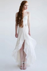 A-Line Strapless Split-Front High-Low Sleeveless Chiffon Wedding Dress With Lace And Broach