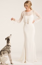 Scoop Floor-Length Long-Sleeve Chiffon Wedding Dress With Watteau Train And V Back