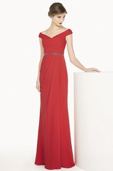 V Neck Cap Sleeve Chiffon Long Prom Dress With Beading Waist