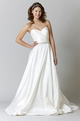A-Line Sleeveless Sweetheart Criss-Cross Floor-Length Satin Wedding Dress With Waist Jewellery
