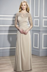 Bateau Neck Appliqued Half Sleeve Jersey Formal Dress