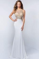 Sheath Scoop-Neck Sleeveless Jersey Illusion Dress With Beading