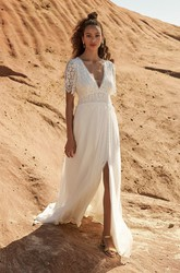 Plunging Half Sleeve With Open Back Bohemian Front Split Lace And Chiffon Wedding Dress