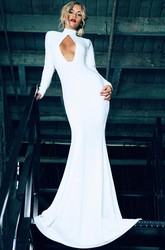 Sexy High Neck Mermaid Prom Dress 2018 Backless Long Sleeve