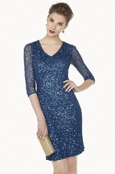 V Neck Half Sleeve Sheath Short Prom Dress With Allover Sequins
