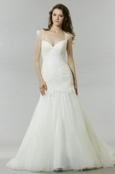 Trumpet Long Cap-Sleeve Lace Tulle Wedding Dress With Low-V Back And Flower