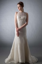 A-Line Floor-Length Appliqued High Neck Sleeveless Satin Wedding Dress With Illusion Back And Court Train