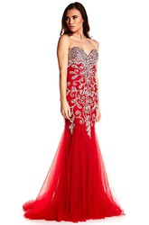 Sheath Crystal Sweetheart Sleeveless Floor-Length Tulle Prom Dress With Backless Style And Sweep Train