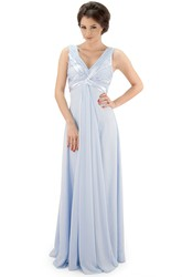 Maxi V-Neck Ruched Chiffon Bridesmaid Dress With Pleats And Illusion