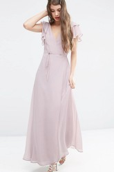 Sheath Ankle-Length Poet-Sleeve V-Neck Chiffon Bridesmaid Dress With Split Front