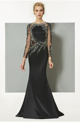 Elegant Illusion Long Sleeve Scoop Appliqued Mermaid Dress