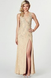 Sheath Sleeveless Split-Front Jewel-Neck Floor-Length Lace Prom Dress With Beading