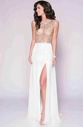 Bateau Neck Cap Sleeve Chiffon Prom Dress With Beaded Bodice And Keyhole Back