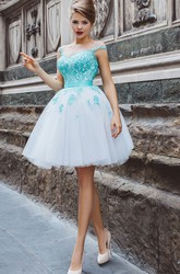 A-Line Short High-Neck Short Sleeve Tulle Appliques Pleats Keyhole Dress